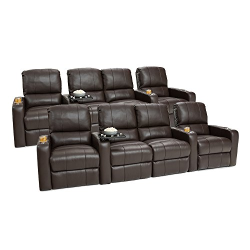 Seatcraft Millenia Leather Home Theater Seating Power Recline, Two Rows of 4 with Middle Loveseat, Brown