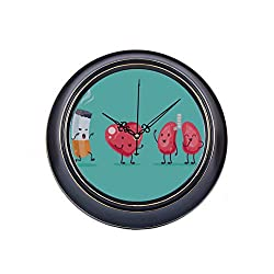 14inch Large Silent Non Ticking Wall Decor Clock Stop Smoking Cartoon Metal Wall Clocks for Kids Quality Quartz Battery Quiet Wall Clocks Battery Operated for Home Office