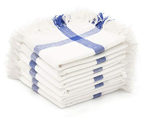 Madras Collections 100% Certified Organic Cotton Napkin Soft Commercial Grade, Multipurpose Highly Absorbent (White Fringe Napkin) Set of 6 Napkins Size 17x17 Inches