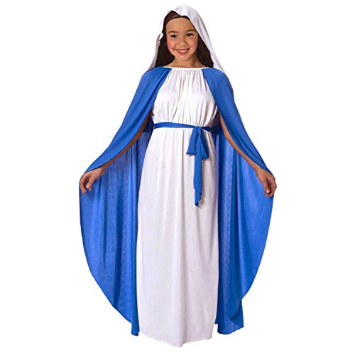 Girls Virgin Mary Nativity Costume for Kids Religious Christmas Childs Outfit - Small (Age 3-5) -