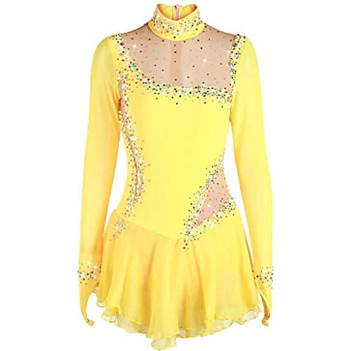 Kmgjc Women Girl Skating Wear,Handmade Quick Dry Breathable Figure Skating Dress High Elasticity Professional Competition Rhythmic Gymnastics Leotards (Color : Yellow, Size : Child10)