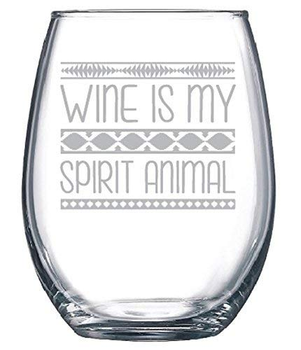 Wine glass, Wine is my spirit Animal, Humor, Classy Sassy and A Bit Smart Assy, wine glass, funny wine glass, stemless wine glass, gifts for her, gifts for mom