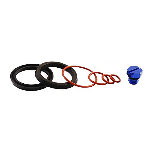 iFJF Fuel Filter Head Primer Seal Rebuild Kit and Air Bleeder Screw for 2001-2013 GM Duramax Fuel Filter Housing -Aluminum Screw(Blue) ()