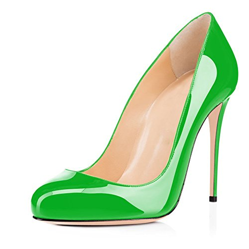 Joogo Round Toe Party Stilettos Slip On High Heels 4.7 inches Thin Heel Classics Pumps Green Size - Toe Knotted Peep Pumps