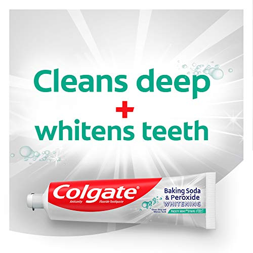 Colgate Peroxide and Baking Soda Toothpaste with Fluoride for Teeth Whitening and Stain Removal, Frosty Mint, 6 Ounce…