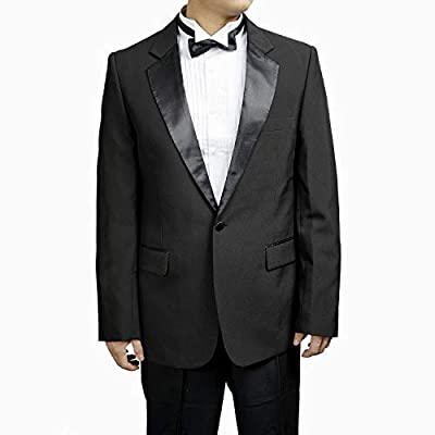Mens 1 Button Black Classic Notch Collar Tuxedo Jacket by Broadway Tuaxmakers