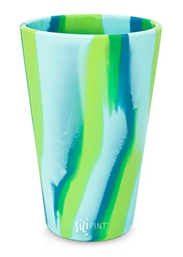 Silipint Silicone Pint Glass Set, Patented, BPA-Free, Shatter-proof Silicone Cup Drinkware (Single Sea Swirl)