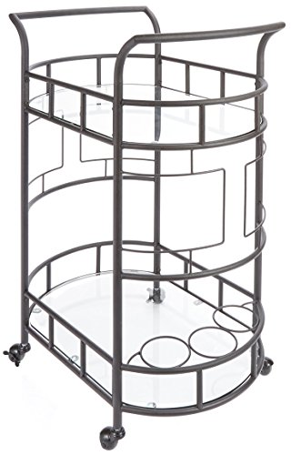 Silverwood FS1133C-COM Sinclair 2-Tier Serving Cart 2, 17'' L x 26.5'' W x 34.5'' H, Hammered Bronze by Silverwood
