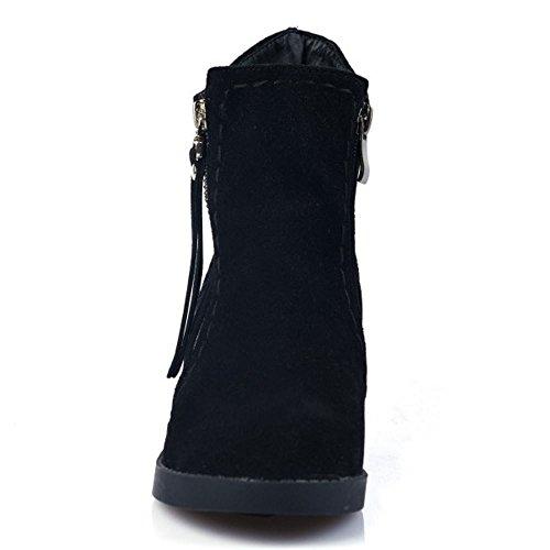 Autumn Black Fashion Block Bootie Women High Winter Zipper 237 Ankle TAOFFEN Heel 7P5Eqwn