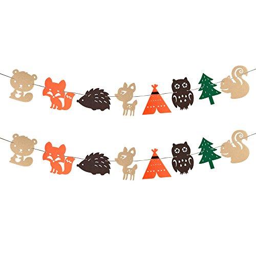 Woodland Creatures Theme Banner Forest Animals Garland for Birthday Wedding Party Baby Shower Décor