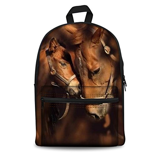 Coloranimal Children Girls Boys School Canvas Backpack Crazy Couple Horse Pattern Zipper Closure Bookbags