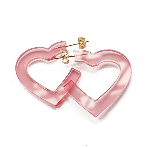 (New Arrival Creative Transparent Acrylic Material Exaggerated Heart Shape Candy Colors Women/Girl's Charm Earrings Ear Studs(3cm) (Pink(3cm)))