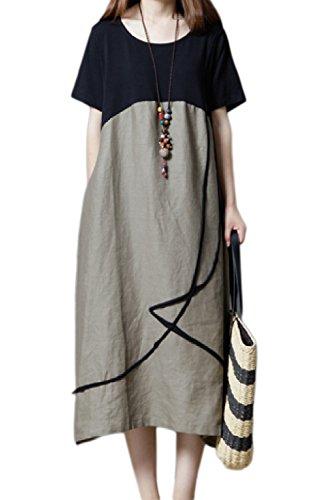 Robes Coton Vintage Robes De Surdimensionn D't Les Femme De Grey Shortsleeves Maxi pdxYEwwq4