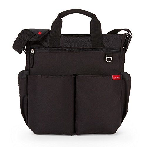 Skip Hop Duo Signature Carry All Travel Diaper Bag Tote with Multipockets, One Size, Black