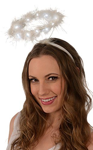 [Light-Up Angel Halo Headband; White LED Angel Halo] (Angel Wings For Halloween Costumes)