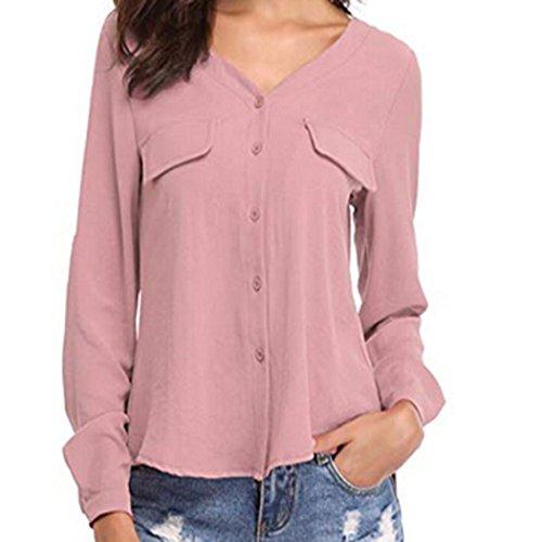 [S-XL] レディース Tシャツ ボタン シフォン Vネック ブラウス シャツ 長袖 トップス おしゃれ ゆったり カジュアル 人気 高品質 快適 薄手 ホット製品 通勤 通学