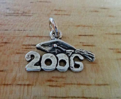 - Fine Charms Sterling Silver 18x15mm College High School 2006 with Graduation Cap
