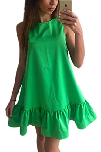 La Mujer Es Elegante Ruffle Patchwork Playa Verano Túnica Shift Dress Green