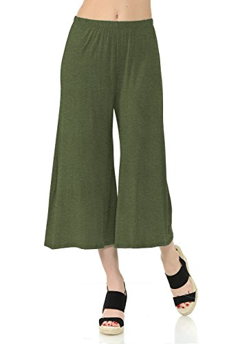 iconic luxe Women's Elastic Waist Jersey Culottes Pants Small Heather Olive ()