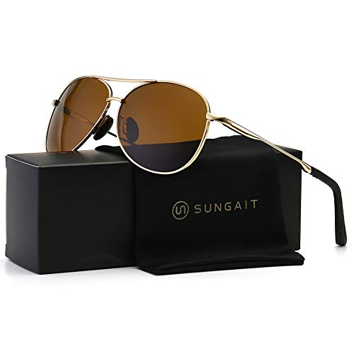 - SUNGAIT Premium Military Style Classic Aviator Sunglasses with Spring Hinges (Gold Frame Brown Lens)0971JKC
