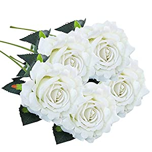 Juesi Artificial Flower, 5 Pcs Silk Fake Flowers Rose Flower Wedding Bouquet Party Home Decor 17