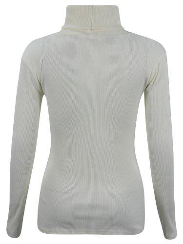 Fashionfactor Da Jumper Base Maniche Lunghe Top Bodycon nbsp; Fit A Donna Coste Crm Collo m Alto 55Rqz7wxr
