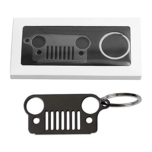 Early Bus Jeep Grille Keychain,Stainless Steel Car Keyring (Never Rust or Break) for Jeep Wrangler Grand Cherokee Compass Renagade Patriot CJ, JK, JKU, TJ, YJ, XJ (Black 1)