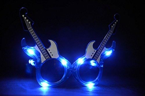 [1 Pair of LED Flashing Light Up Party Guitar Glasses Shades (Blue)] (The Music Man Costumes For Sale)