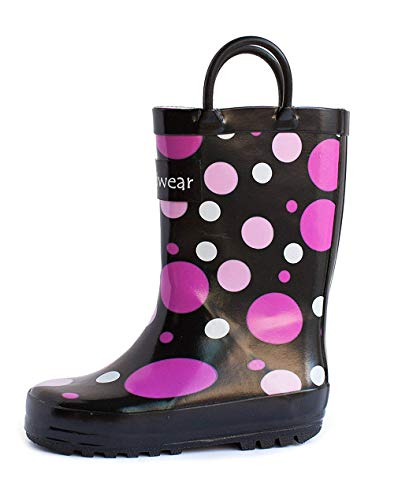 OAKI Kids Rubber Rain Boots with Easy-On Handles, Purple Polka Dot, 13T US Toddler, Purple Polka -