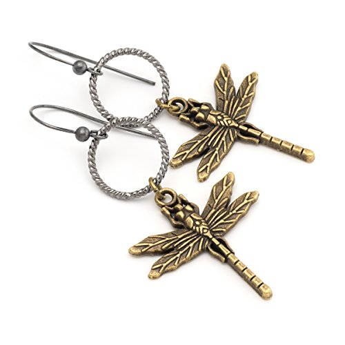 Bronze dragonfly antique sterling silver .925 hooks dangling earrings 2.4 in Sterling Silver Dragon Art