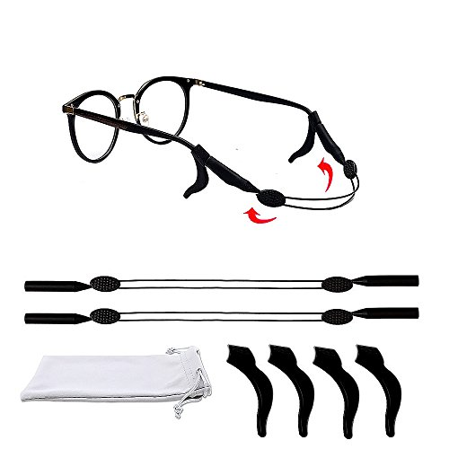 2 Pcs Eyewear Retainer With 4 Pcs Glasses Temple Tip, Adjustable Eyewear Strap for for Kids Men Women Sport Sunglasses, Glasses Cleaning Cloth and Pouch for Free (Temple Pc)