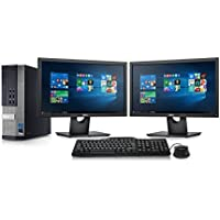 Dell Optiplex 990 SFF Desktop - Intel Core i7 3.4GHz, 16GB DDR3, New 2TB Hard Drive, Windows 10 Pro 64-Bit, WiFi + 2x New 24 Dell LCD Monitor (Prepared by ReCircuit)