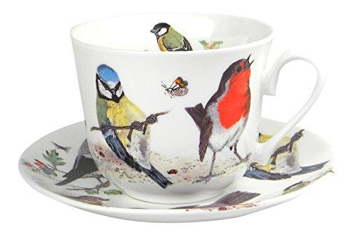 Roy Kirkham Garden Birds Breakfast Teacup and Saucer Set Fine Bone ()