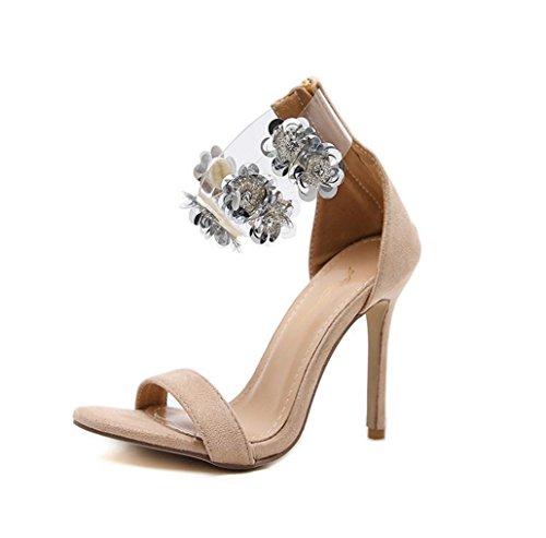WSK Zapatos de tacón de sandalias de tacón alto para mujeres Zapatos huecos de copo de nieve Zapatos de boca de pescado Zapatos de moda de fiesta de bodas beige color