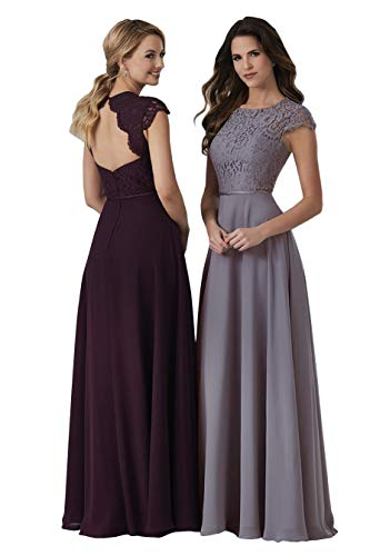 Lianai Women's Scoop Neck Bridesmaid Party Dress Open Back Formal Evening Prom Dress Wisteria,12 ()