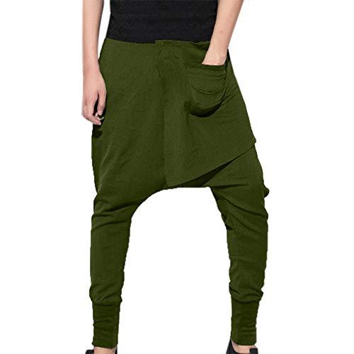 POHOK Men's Sport Hip-hop Pencil Pants Pure Color Trousers Leisure Haren Pants Army Green -