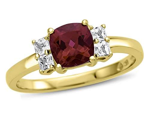 Finejewelers 6x6mm Cushion Created Ruby and White Topaz Ring 10 kt Yellow Gold Size 5.5