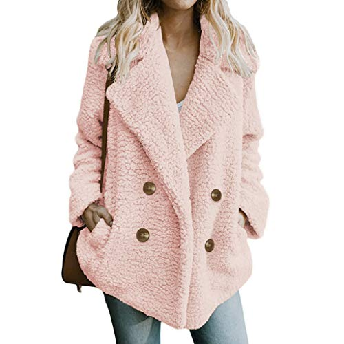 Womens Winter Open Front Fleece Coat Cardigan Button Solid Jacket Outwear with -