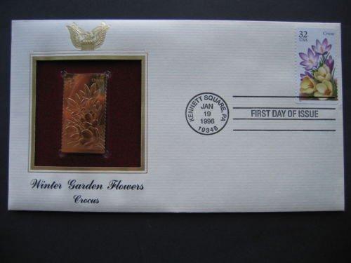 1996 Winter Garden Flowers Crocus 22K Gold Stamp Replica ()