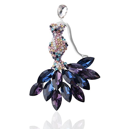 TAGOO Tulip Fox Brooches Pins Scarf Clips Unisex for Women&Men Wedding/Dailywear/Banquet (Purple Rhinestone Crystal Mermaid Brooch & Pendant 2.76