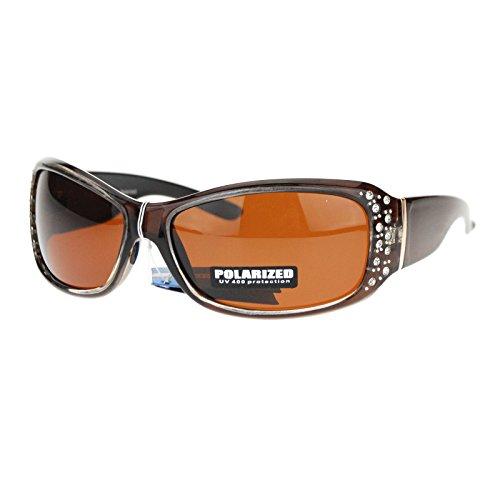 Anti Glare Polarized Womens Rhinestone Oval Rectangular Designer Sunglasses Brown (Glasses Reading Rhinestone Brown)