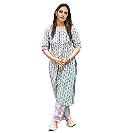 GoSriKi Women's Cotton Straight Kurta with Checkered Trouser