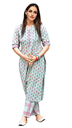 GoSriKi Women's Green Cotton Printed Straight Kurta With Checkered Trouser Discounts Junction