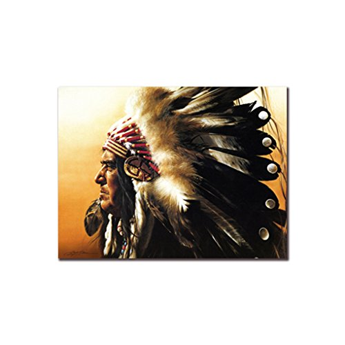 Xuanhemen Indian Chief Oil Drawing Man Feather Headdress Canvas Oil Painting Poster Home Decorative Frameless Wall Painting Picture