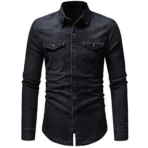 OSYS THX Mens Button Down Shirts Western Casual Long Sleeve Slim Fit Denim Shirts Black