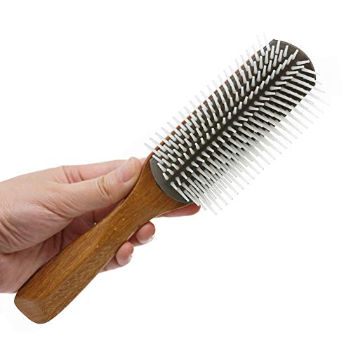 hefeilzmy Unisex Bamboo Handle Nylon Bristles Massage Nine Rows of Combs Hairdressing Tool Hair Brush