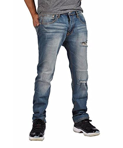 Indigo People Men's Denim Pants Premium Quality Straight Leg Jeans 7003 Distressed Blue 40x32
