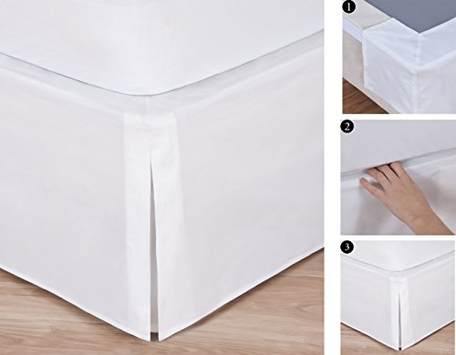 "Easy-to-Use Wraparound Bed skirt: Tailored, Split Corner Design, Non-Slip Band. 14"" Drop, White Color (King)"