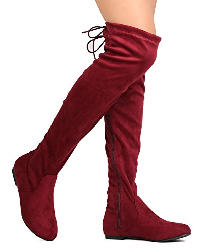 ShoBeautiful Women's Over The Knee Flat Boots Stretchy Back Lace Tie Up Low Heel Winter Thigh High Dress Boots Burgundy ()
