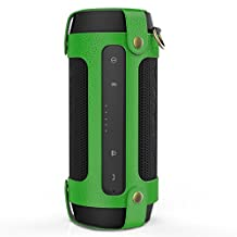 MoKo Carrying Case for JBL Charge 2+ , Portable Bluetooth Speaker Cover PU Leather Protective Bag Sleeve Skins, with Holding Strap & Carabiner, Green